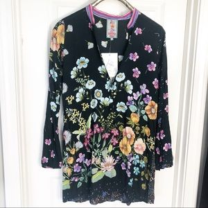 Johnny Was Lentino Bell Sleeve Black Floral Tunic